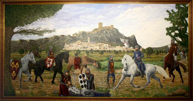 "Mural ""Muerte de Don Artal de Alagón"". José Martínez Antolín (2002)."