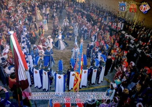 Fotografía del homenaje realizado por las Comparsas de Garibaldinos y Alagoneses a la Comparsa de Caballeros de Cardona, el 4 de febrero de 2014.