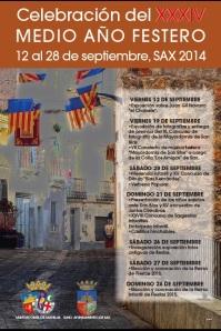 Cartel del XXXV Medio Año Festero · Sax 2014