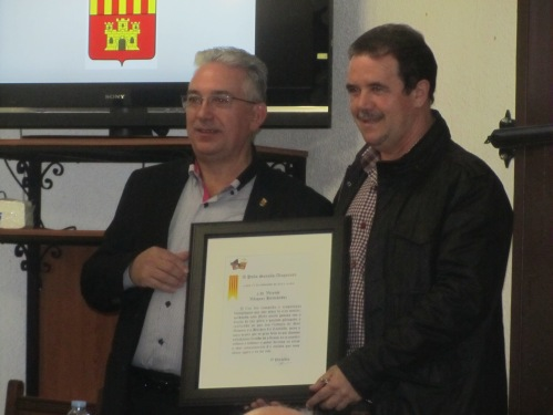 Diploma Conferencia Vicente Vázquez. 775 aniversario muerte de Don Artal de Alagón. Alagón, 15 de noviembre de 2014.