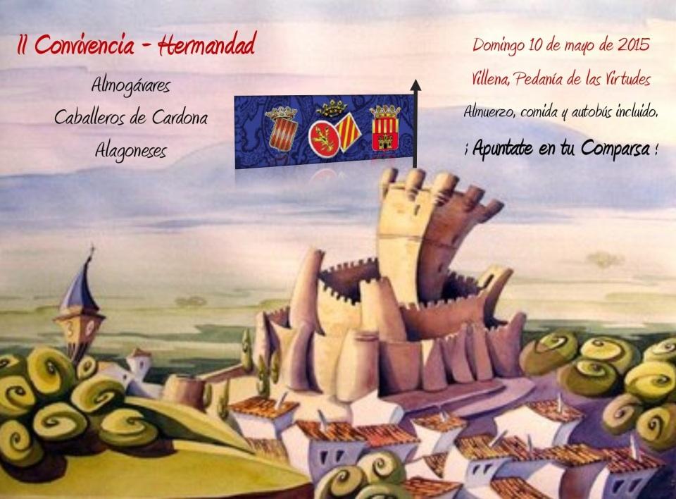 Cartel de la II Convivencia-Hermandad entre Almogávares, Caballeros de Cardona y Alagoneses. Domingo 10 de mayo de 2015 en Pedanía de las Virtudes, Villena.