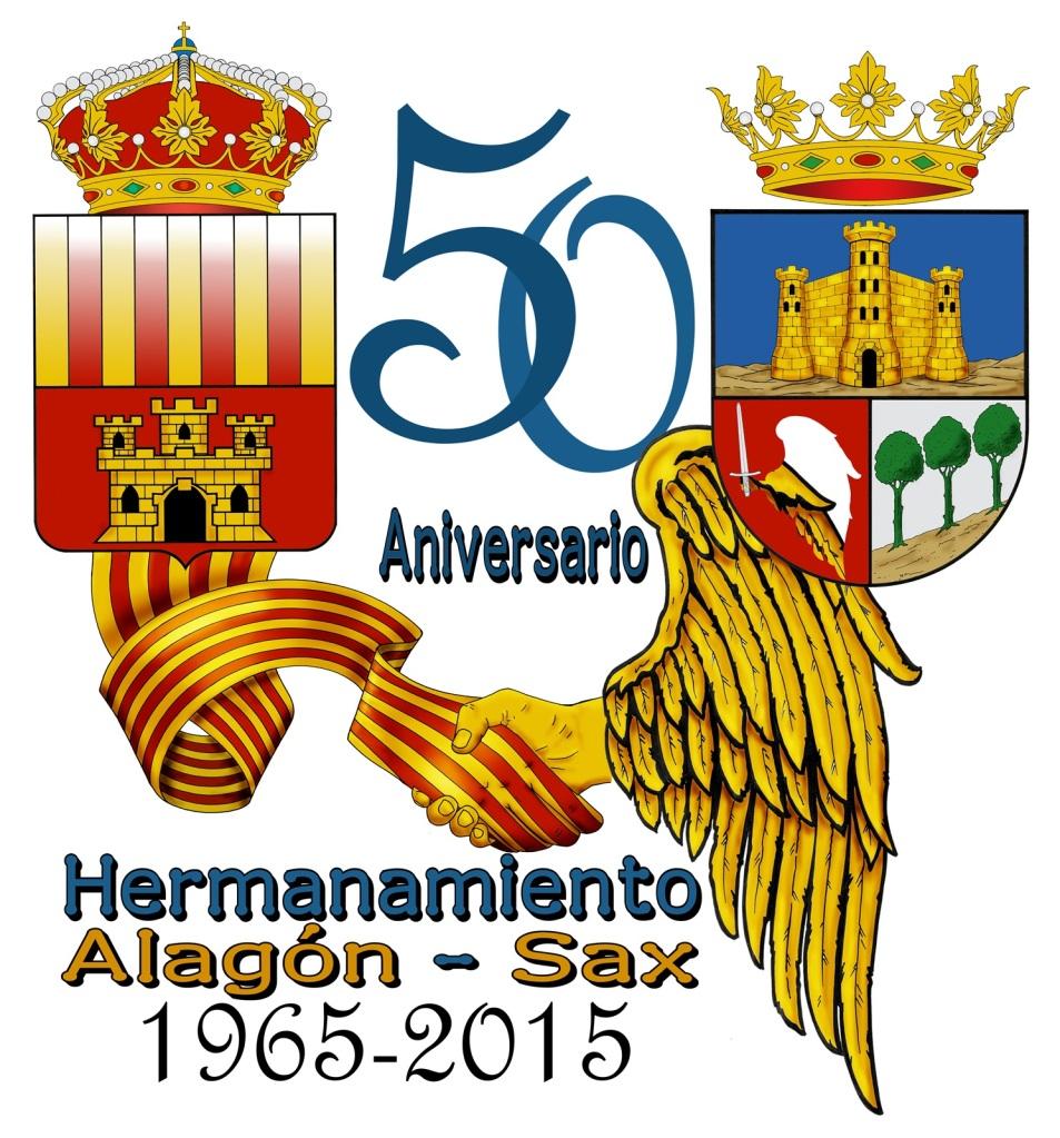 Logo 50 aniversario del Hermanamiento entre Alagon y Sax (1965-2015). Autor: José Martínez Antolín